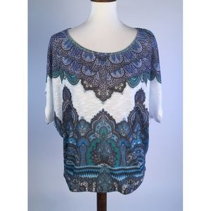 Cache Womens Blouse Top Small Blue Damask B83-03Z